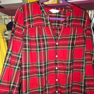 Plaid Christmas tunic large